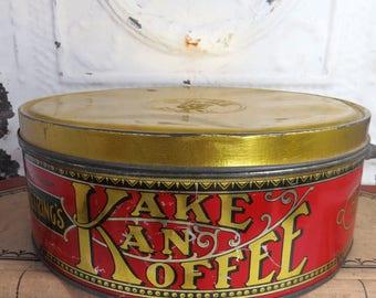 Kake Kan Koffee Tin, Petring Co., RARE Coffee & Cake Tin, Red and Gold, Vintage