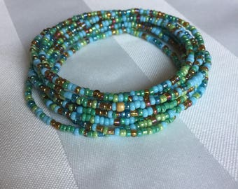 Tiny Seed Bead Multiwrap Beachy Mix - Tiny Seed Bead Jewelry - Multiwrap Bracelet - Multiwrap Necklace