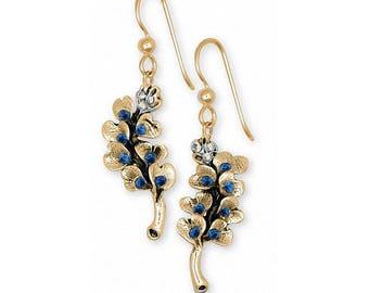Bluebonnet Earrings Jewelry 14k Gold Handmade Texas Wildflower Earrings BB6-SSEG