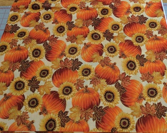 "Pumpkins and Sunflowers Cotton Fabric (""East Grove"" S#M7477) from Hoffman Fabrics"