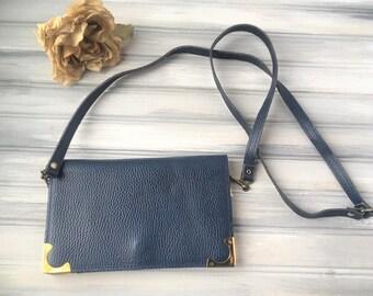 Vintage Blue Leather Purse / Blue Leather Handbag / Vintage Leather Purse / Blue and Gold Leather Purse