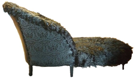Chaise Lounge - Accent Furniture - Black Fur Chair - Gothic Furniture - Sofa - Couch