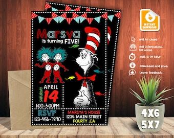 Dr Seuss Invitation,Dr Seuss Birthday,Dr Seuss Party,Dr Seuss Birthday Invitation,Dr Seuss Party Invitation,Dr Seuss-F0244