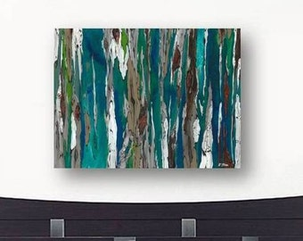 Oversized blue canvas print Extra LARGE Wall art dining room living bedroom decor Painting of trees colorful abstract landscape teal white