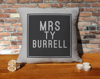 Ty Burrell Pillow Cushion - 16x16in - Grey