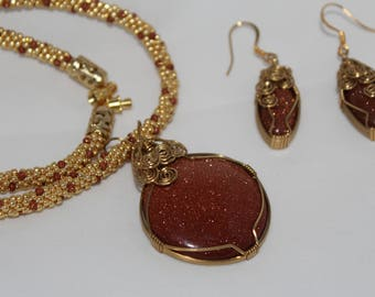 Brown Goldstone Necklace with Earrings