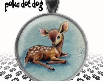 Dear Deer -- Fawn Large Glass-Covered Pendant
