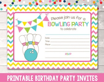 Printable Bowling Party Invitation Fill in the Blank Birthday Party Invite Instant Download PDF Pink Blue Green & Yellow Chevron Stripes