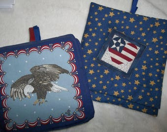 "QUILTED POTHOLDERS ""Americana"" Eagles, Hearts and Stars, Heat Resistance Batting"