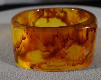 Vintage Bangle Bracelet Amber Faux Tortoise Shell Lucite Extra Wide