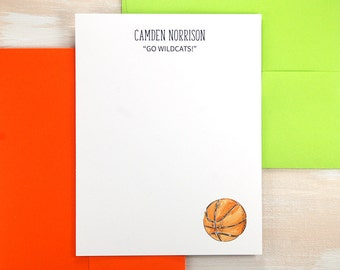 Basketball Gifts, Boys Stationery, Personalized Stationery Set, Custom Thank You Note Cards, Set of 12