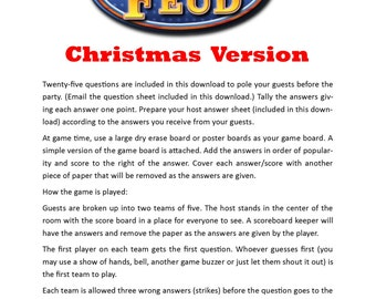 christmas family feud printable game christmas family game party game family friendly game