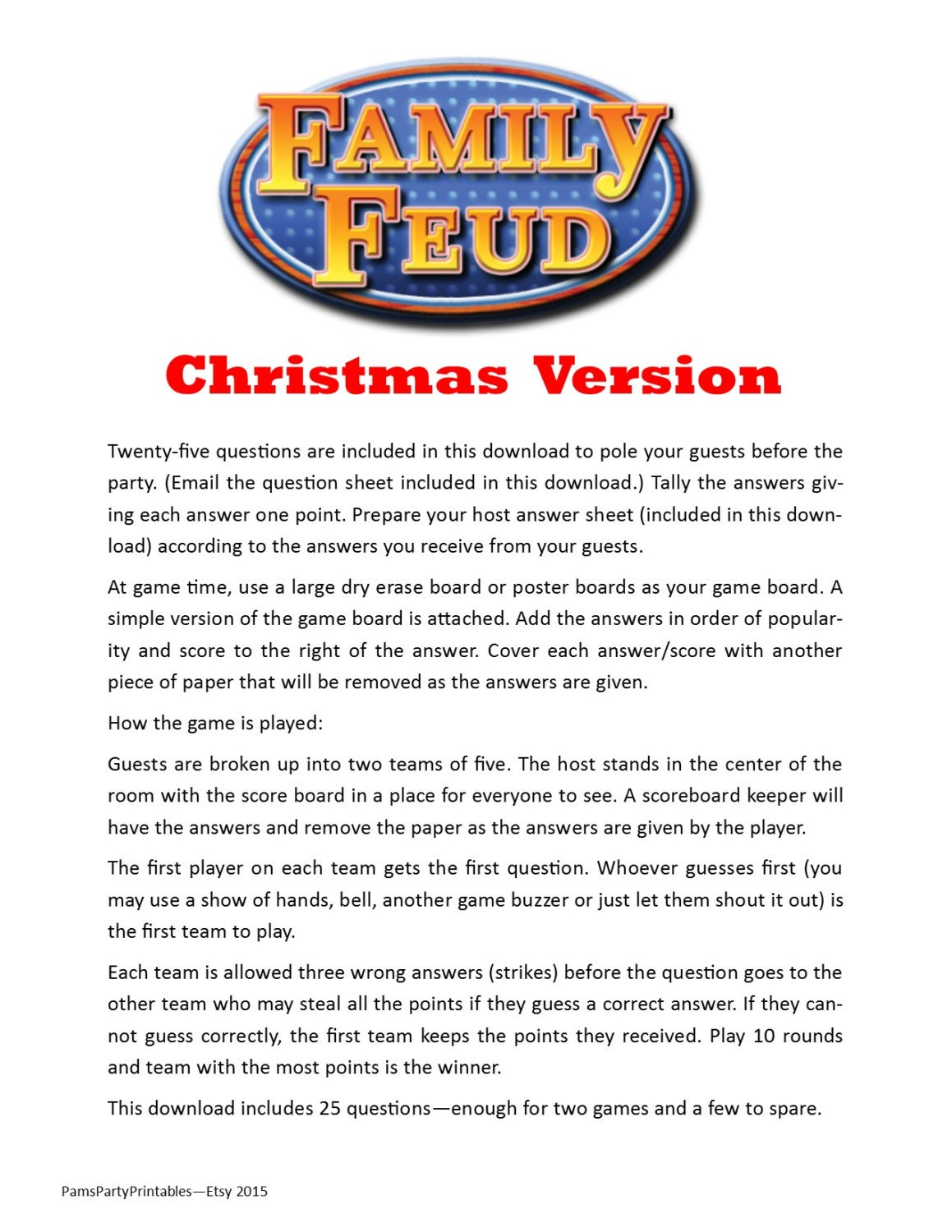 christmas family feud printable game christmas family, Powerpoint templates