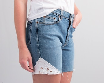 Reworked Cutoffs * Medium – Dark Wash Denim Cutoff Shorts w/ Lace Insets * Size 4 * X-small - Small * FREE SHIPPING