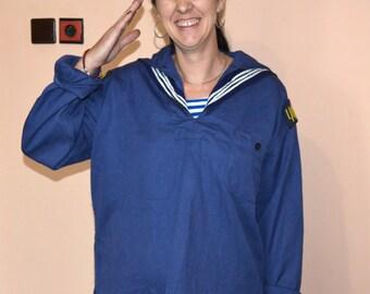 Marinero uniforme - camisa azul marino - Marina de guerra uniforme - Naval uniforme - uniforme naval azul - viejo Marina Asnat - uniforme del azul de lona - soldado uniforme del