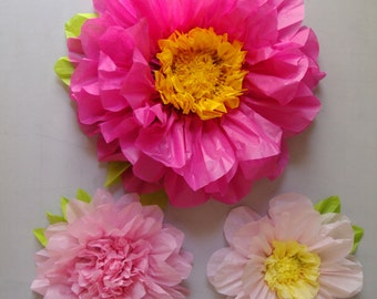 Set of 3 Giant Paper Flowers (Hot Pink)- Perfect Decorations for Wedding,Birthday Party&Baby Shower