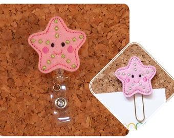 Starfish Badge Reel, Summer ID Badge Reel, Felt Badge Reel, Retractable Name Holder, Nurse, Teacher, Gift, PINK 737