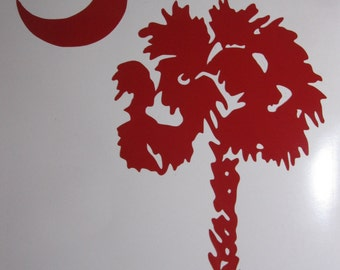 Palmetto Tree Moon Vinyl Decal / Sticker *Available in 24 Colors* SC, South Carolina