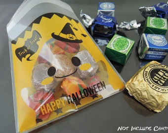 Resealable Cookie Bags Halloween Party Favor Bags Self Adhesive Plastic Bags Gift Packaging 48pcs