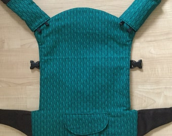 Jazz and Go baby carrier cover and strap pads for Beco Soliel for baby wearing in emerald green leaf cotton or choice of fabric