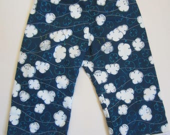 Quilty Pants 6 month to 4T. Blue Clouds, by Cotton and Steel.