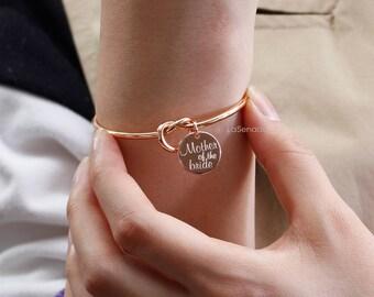 Tie the Knot Bracelet, bridesmaid gift, personalized bracelet, sorority gift, maid of honor bracelet,name bracelet, rose gold bangle