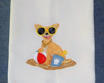 My Chihuahua Dog At The Beach Embroidered Kitchen Towel