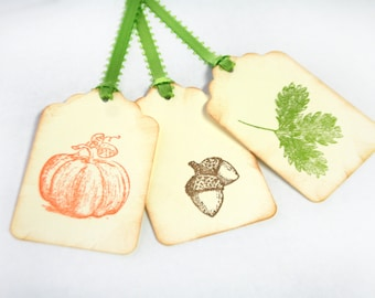 Fall tag Set 15 with stamp gift thanksgiving party favor tags harvest