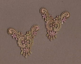 Hand Dyed Venise Lace  Appliques Edwardian Accents Set of 2 Vintage Shabby Bliss