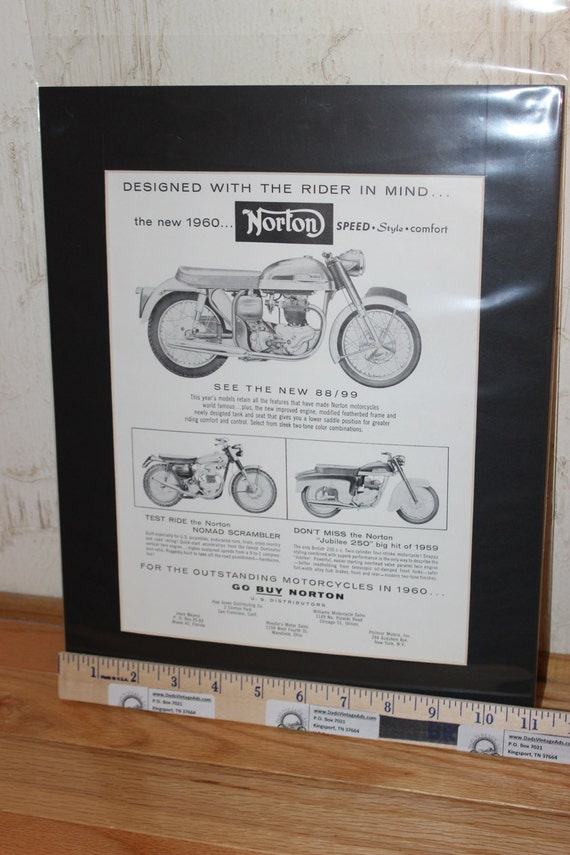 1960 Norton Motorcycles ''Speed, Style, Comfort'' 11'' x 14'' Matted Vintage Ad Art #6004amot01m