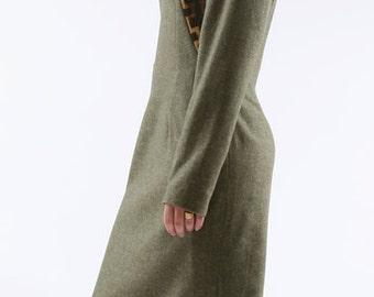wool with cotton bogolan yoke dress.