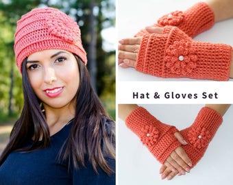 Hat and glove set, crochet flower hat, hat and mitten set, womens beanies, womens winter hat, fingerless gloves, fingerless mittens