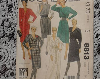 McCall's 8813 Pattern Misses' Straight Dress or Jumper Size 10 12 14 Uncut 1980's