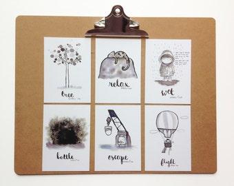 Inktober Postcard Set No3 -  My illustrations for Inktober 2016
