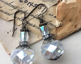 Glass sparkle earrings, drop earrings, clear glass earrings, sparkle jewelry