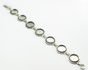 Blank Bezel Bracelet with 12mm Bezels, Sturdy Antiqued Silver Plated Bracelet  with 7 Blanks, Made in USA, #N155