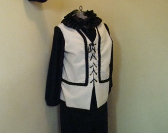 Clown Costume Adult Black & White Commedia Dell'arte Style Theater Parade Halloween Price Reduced
