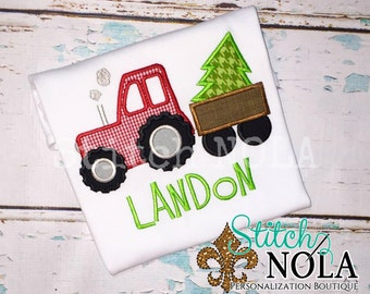 Christmas Tree Tractor Shirt, Romper or Bodysuit