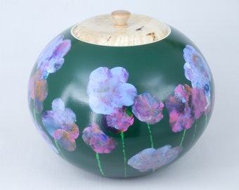 Large Painted Wooden Cookie Jar Green with Spring Flowers Flame Box Elder Handmade