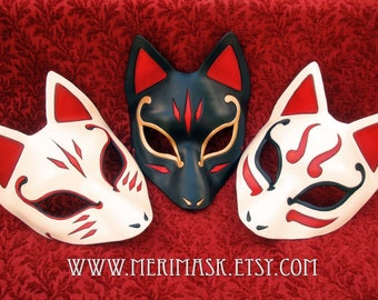 MADE TO ORDER Wedge Kitsune Mask... masquerade Japanese fox mask costume mardi gras halloween burning man splicer