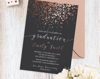 Rose Gold Graduation Party Invitation Printable College Grad