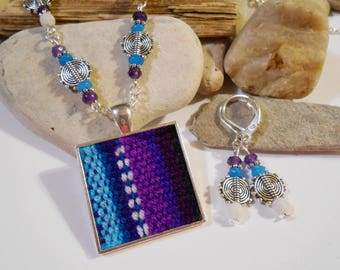 3Pcs Bolivian Jewelry Set Handwoven Aguayo Fabric Pendant White Agate Blue Jade Amethyst Gemstone Necklace and Earrings PRIORITY MAIL