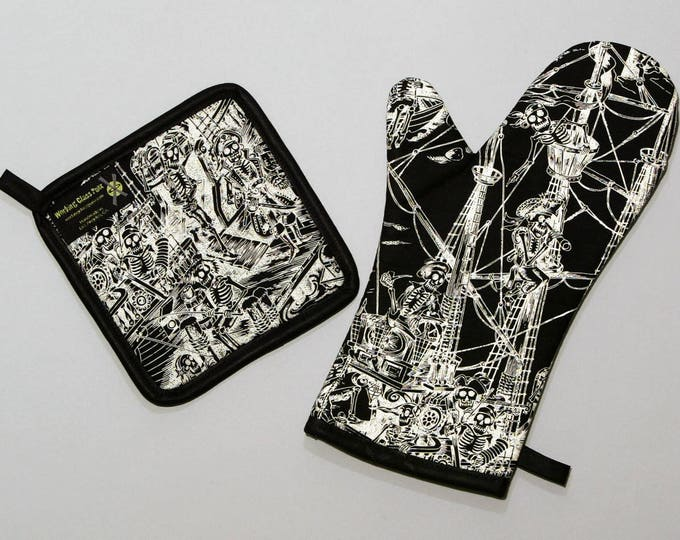 Pirate Skeletons on a Ship, Oven Mitt and Pot Holder, Sets and Singles, Swashbuckling Skelewags, Black and White