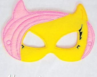 Girly Pony Mask Embroidery Design, pony mask, horse machine embroidery, ITH mask, in the hoop mask, horse, embroidered mask, 5x7, 6x10
