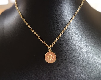Dainty Fleur De Lis 14K gold filled Necklace Minimalist French-Perfect for her