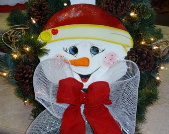 Snowman Wreath With Lights To Be Personalized, Xmas Wreath, Door Decor, Snowman Decor, Home Decor,,