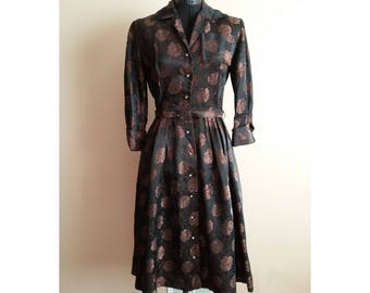 Vintage 1950s Floral Brocade Belted Day Dress. 'Dressy Casual by Syd' Size Large. Black & Brown, Rhinestone Buttons, 3/4 Sleeve, Calf Length