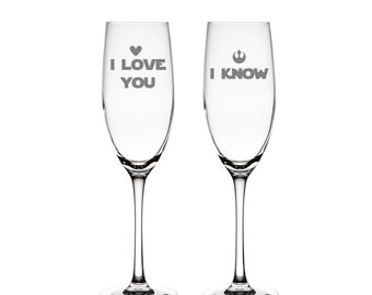 I love You  and I Know Toasting Flutes - Champagne Flutes - Wedding Toasting Flutes - Toasting Flutes - CF45520-AL6R1