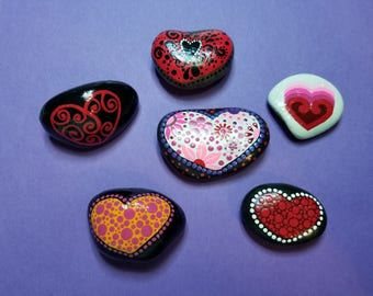 Choice of one of six fancy heart painted rocks