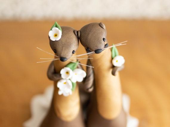 River Otter Wedding Cake Topper